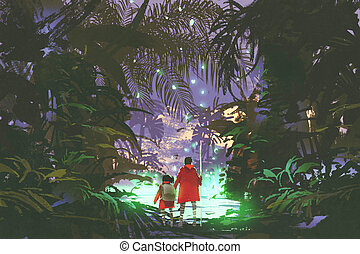 man and little girl looking at green swamp in forest - man...