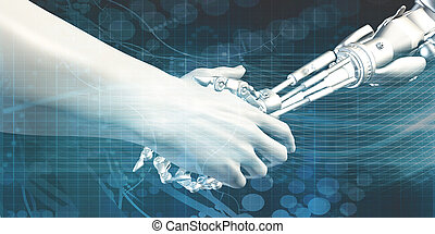 Man and Machine Handshake