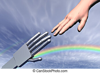 Man and machine reaching towards each other