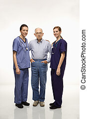 Man and medical workers.