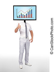man and monitor with chart - businessman and monitor with...