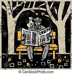 Man and Newspaper