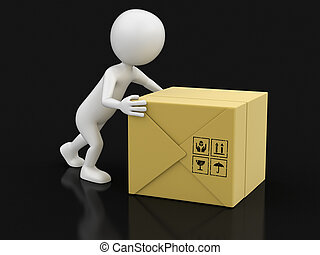 Man and package. Image with clipping path