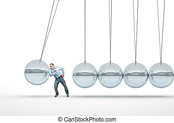 man and pendulum