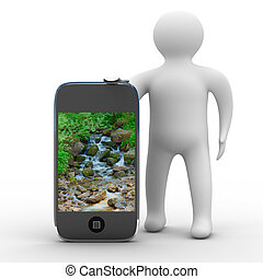 man and phone. Isolated 3D image
