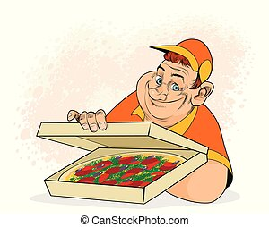 Man and pizza in box