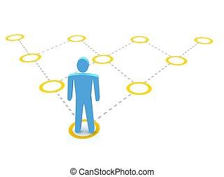 Man and pyramidal diagram. 3d rendered illustration.