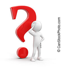 Man and question. Image with clipping path