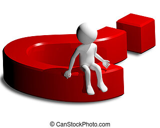 man and question mark - 3d illustration of a man and a...