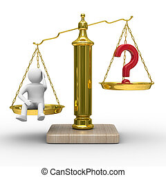 man and question on scales. Isolated 3D image