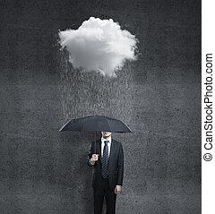 man and rain - businessman with umbrella and rain