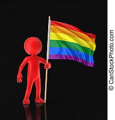 Man and Rainbow Gay Pride Flag