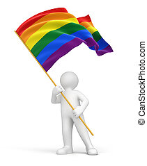 Man and Rainbow Gay Pride Flag