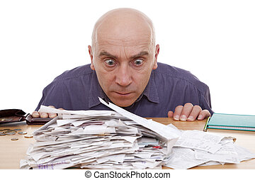 man and receipts -  heap of receipts and terrified man
