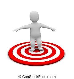Man and red target. 3d rendered illustration.