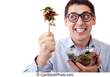 Man and salad