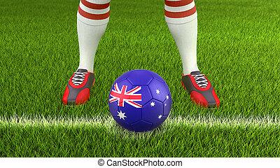Man and soccer ball with Australian flag