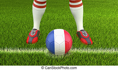 Man and soccer ball  with French flag