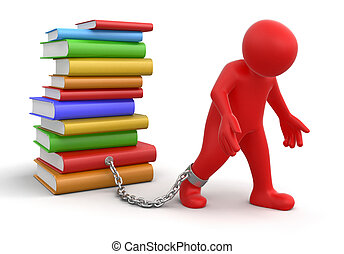 Man and Stack of Books. Image with clipping path