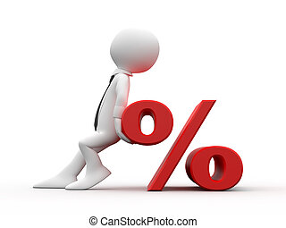 Man and symbol of the percentage