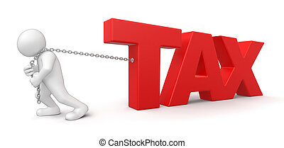 Man and Tax. Image with clipping path