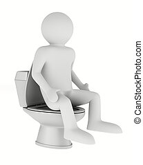 man and toilet bowl. Isolated 3D image