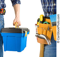 man and tool box with belt isolated on white background