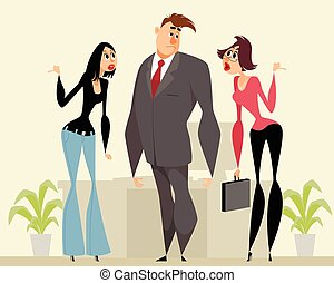 Man and two women - Vector illustration of a man and two...