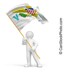 Man and Virgin Islands flag - Man and United States Virgin...
