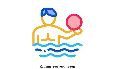 man and volleyball water ball Icon Animation. color man and volleyball water ball animated icon on white background