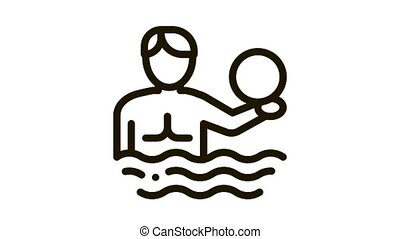man and volleyball water ball Icon Animation. black man and volleyball water ball animated icon on white background