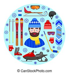 man and winter equipment - Cheerful and happy man in winter...