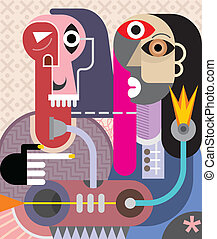 Man and Woman - abstract art vector illustration. Couple...