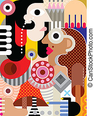 Man and Woman - abstract art vector illustration.