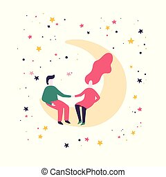 Man and woman are sitting on the moon. Romantic couple in a flat style. Valentine's Day Card.
