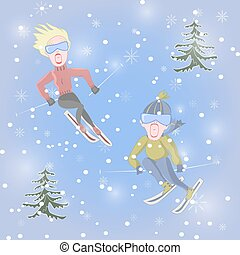 Man and woman are skiing - Man and woman together are...