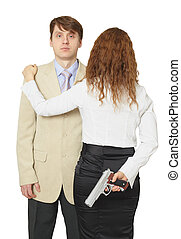 Man and woman armed by pistol isolated on a white background