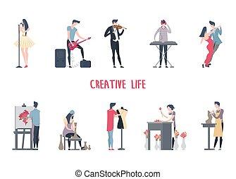 Man and woman at art job, creative work.