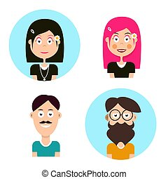 Man and Woman Avatars. Vector People Characters. Men and Women Icons.
