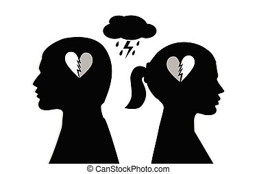 Silhouette of a couple with broken heart