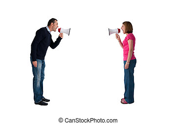 man and woman bullhorn isolated - man and woman arguing...