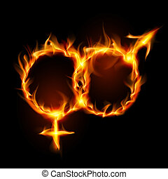 Man and woman burning symbol. Illustration on black ...