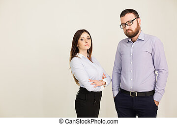 man and woman business partners