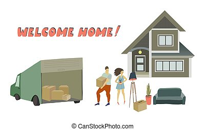 Removal into a new house Vector flat illustration
