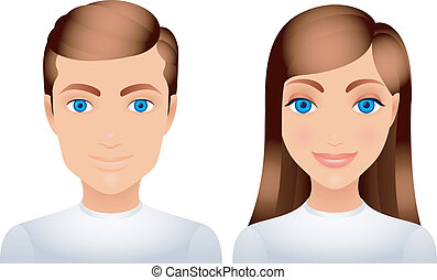 Man and woman. - Cartoon man and woman in white clothes.
