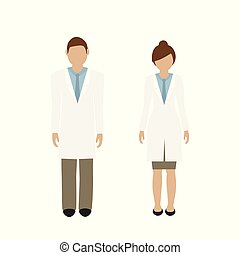 man and woman character doctor in white lab coat isolated on...