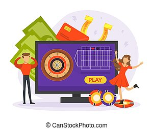 Man and Woman Character Engaged in Online Casino Gambling Vector Illustration