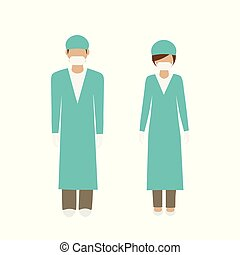 man and woman character surgeon in green lab coat isolated ...