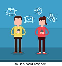 man and woman character using smartphone