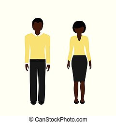 man and woman character with dark skin color and black hair african